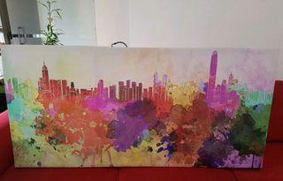 Cuadro ciudad multicolor.