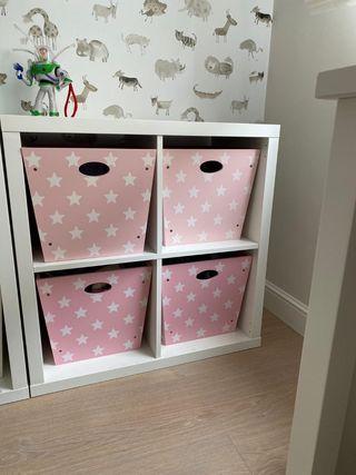 4 Cajas madera para estantería Kallax