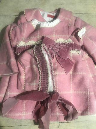 Abrigo, vestido y capota a juego talla 18 meses