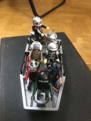 Playmobil equipo de rescate con moto y lancha