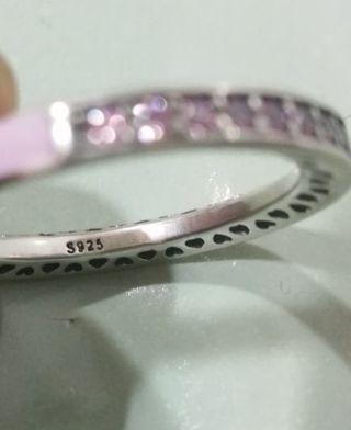 Anillo plata color rosa