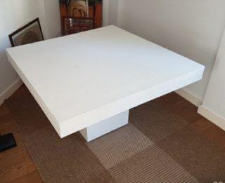 Mesa comedor pie cubo extensible, blanco