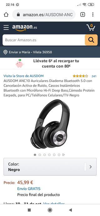 Casco inalámbrico Bluetooth con cancelación ruido.