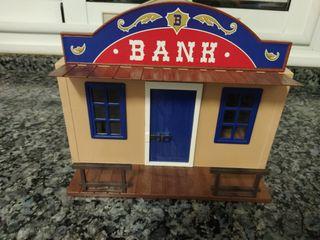 PLAYMOBIL-Oeste, maletín, sheriff y banco.
