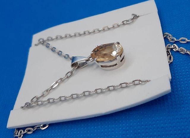 Cadena Opla +colgante de plata 925 y Citrino.