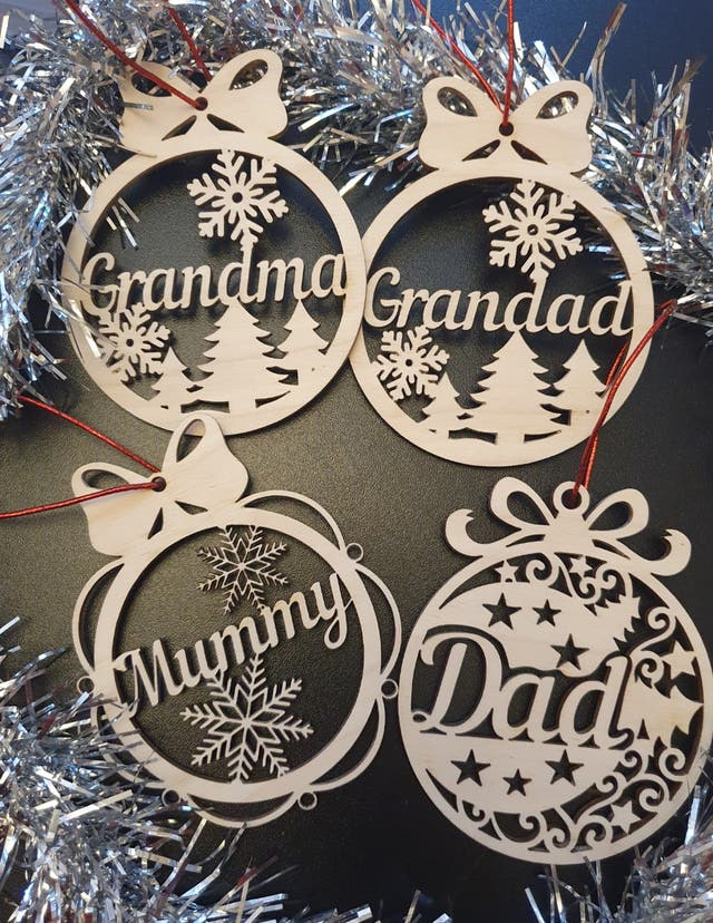 Laser cutting Baubles family members