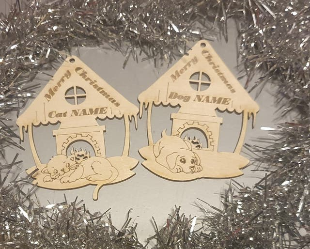 Laser cutting PETS PERSONALISED Baubles for Christ