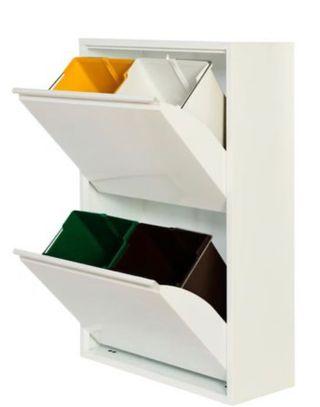 Cubo Reciclador metálico blanco 4px