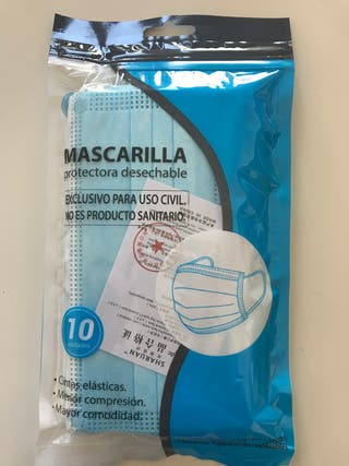 Mascarilla desechables Paquete de 10