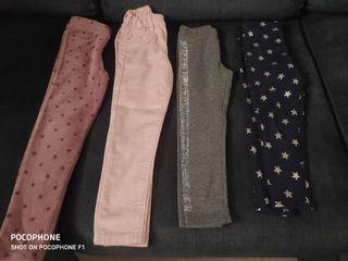 4 Pantalones de niña casi sin uso talla 3-4 4-5