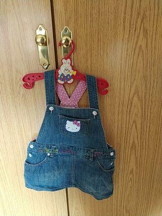 Peto vaquero de falda de Hello Kitty 12-18 meses