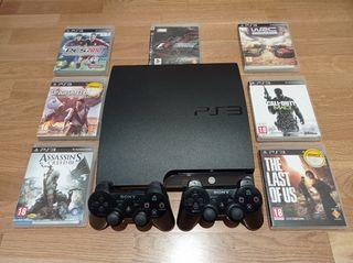 Pack PS3 Slim + 2 mandos + 7 juegos