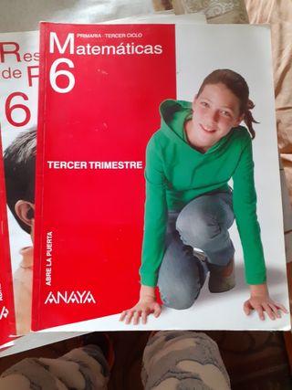 Libro matemáticas de 6 de primaria de Anaya.