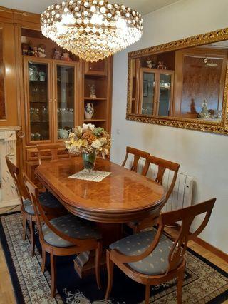Juego de mesa con 6 sillas y espejo