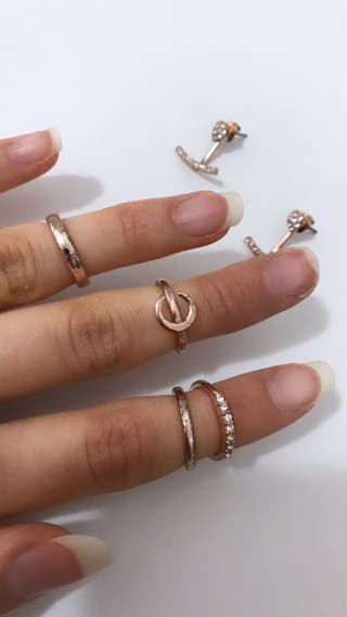 Pendientes + anillos Rose Gold
