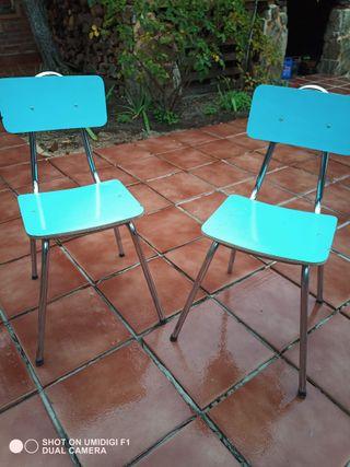 4 sillas vintage antiguas color azul