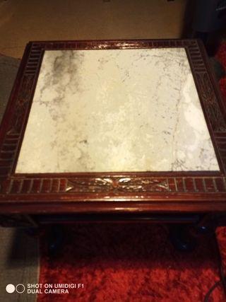2 mesas de centro de madera y mármol