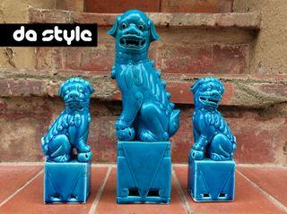 Perros Leones FOO FU China porcelana azul