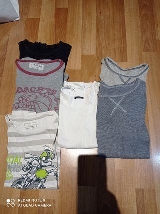 camisetas interiores manga larga y corta.talla8-10