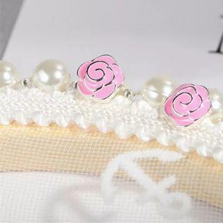 Hot New 925S.S Sweet Pink Rose Flower Earrings