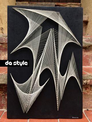 Cuadro geometrico de hilos vintage 1960