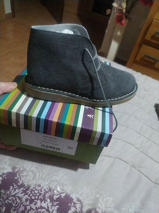 botín serraje gris