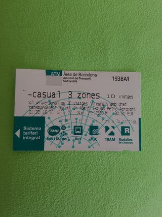 Tarjeta Casual ATM ( 3 zones)