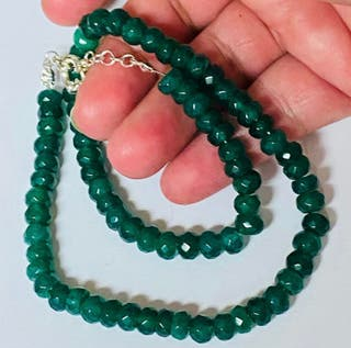 Collar artesano esmeraldas de Zambia y plata ley