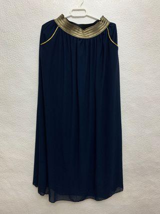 Falda larga azul marino con dorado