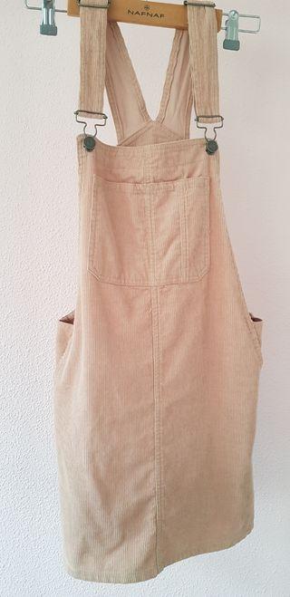 falda peto rosa palo de pana fina