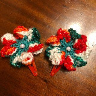 Set of Christmas Crochet Flower Red Hair Clip
