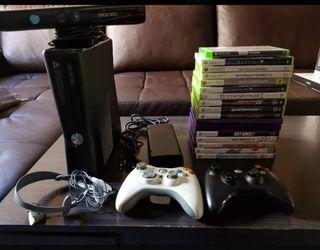 xbox 360 250gb+kinet+ juegos