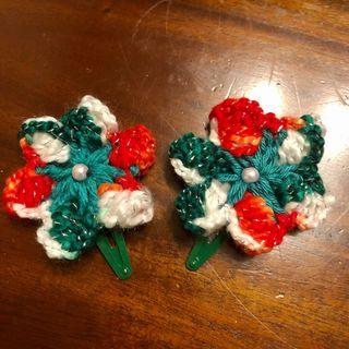 Set of Christmas Crochet Flower Green Hair Clip