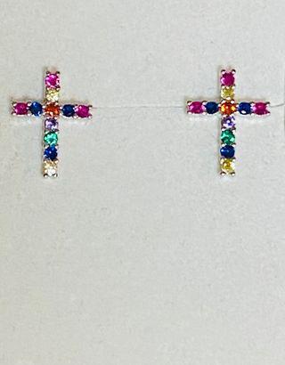 Pendientes de cruces con gemas en plata de ley 925
