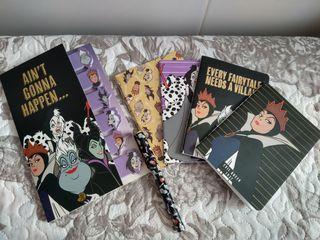 Libretas, posits y bolígrafo Villanas Disney