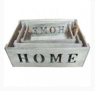 set 3 cajas madera MDF disponibles en 2 colores