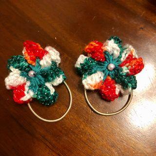 Pair of Christmas Crochet Flower Girls Hair Tie