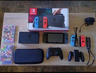 Kit Nintendo Switch con mandos extra y juegos