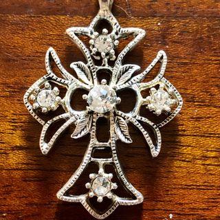 Silver Tone Rhinestone Cross Pendant