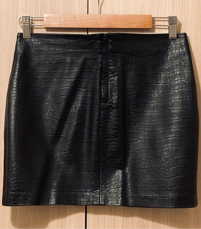 Imitation Black Leather Skirt