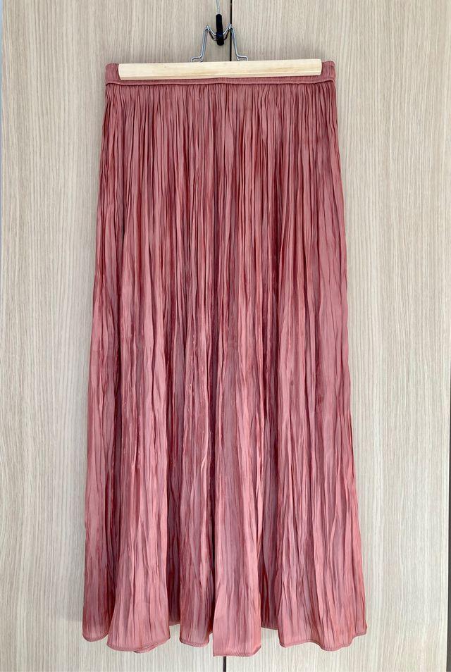 Pleated Satin Finish Skirt