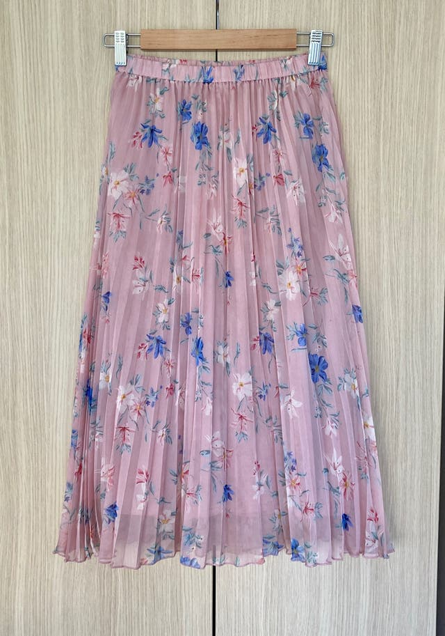 Powder pink / Floral Pleated skirt