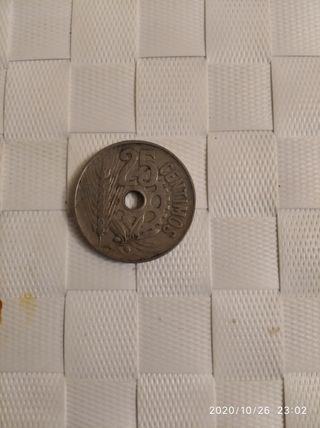 moneda de 25 centimos de 1934