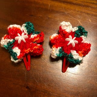 New Handmade Christmas Crochet Hair Clip
