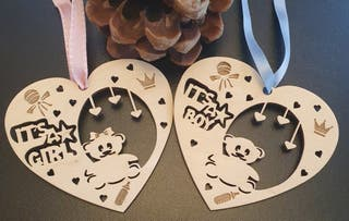 "Laser cutting Baubles "" BABY SHOWER"""