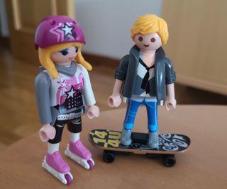 Patinadora y skater de playmobil