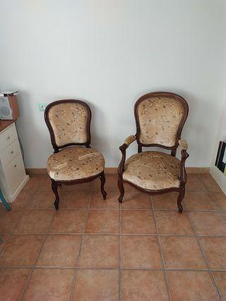 """Sillón y silla """"cabriolet"""" Luis XV"""