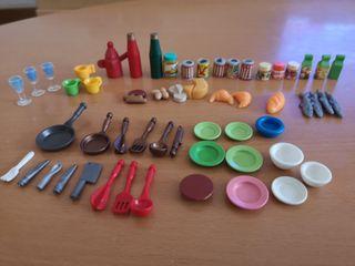 Lote utensilios de cocina y comida playmobil
