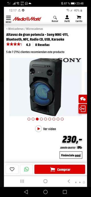 Altavoz de gran potencia Sony mhc-v11 Bluetooth, N