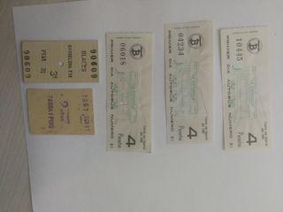 5 billetes antiguos autobuses, tren